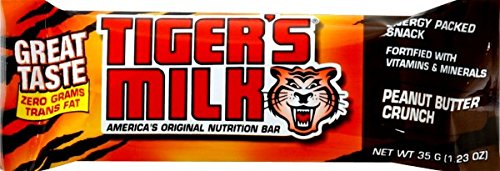 Tiger's Milk Protein Nutrition Bar (Peanut Butter Crunch, 6g of Protein, 0g Trans Fat), 35 g (Pack of 96)