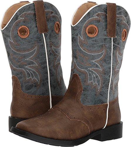 Roper Boys' Daniel Distressed Saddle Vamp Cowboy Boot Square Toe Brown 4 D (Kids Roper Saddle)