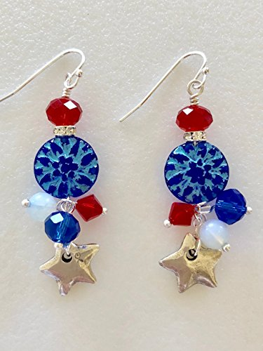 Fourth Of July Earrings, July 4th Earrings, Red White And Blue Earrings, Pewter Star Earrings, Patriotic Earrings, Swarovski Elements.