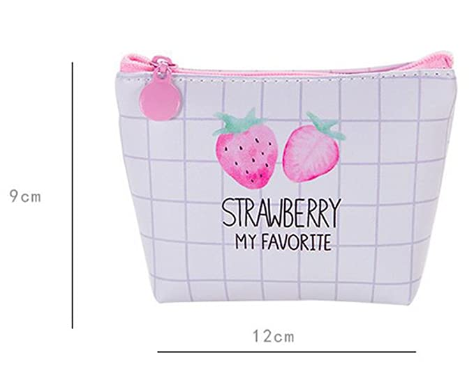 WA Lienzo Bolsa de Monedero Dibujos Animados Patrones de Fresas Clave Casos Mini Tipo Cartera, PU, As Show, Style 4: Amazon.es: Hogar