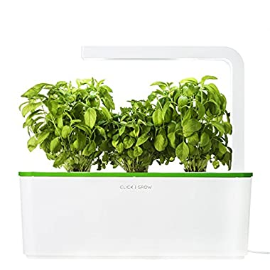 Click & Grow Indoor Smart Herb Garden with 3 Basil Cartridges and Kiwi-Green lid