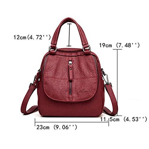 Travel Ladies Grey Handbag Multifunction Purse Backpack Bag Women Backpack Leather JOSEKO PU Shoulder Washed A8WzFOwqO