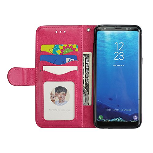 Aipyy Galaxy S8 Plus Case,[Card Slots] Wallet Folio Style PU Leather Glitter Powder Flamingo Emboss Flip Case Kickstand Cover & Magnetic Closure for Samsung Galaxy S8 Plus 6.2'' [Rose] by Aipyy (Image #3)