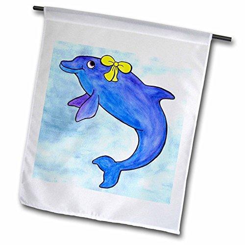 3dRose fl_1099_1 Daisy Bottlenosed Dolphin, Garden Flag, 12 by 18-Inch
