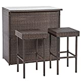 BMS Outdoor Wicker Bar Chair Set 3PC Patio Furniture Glass Bar And Two Stools BestMassage