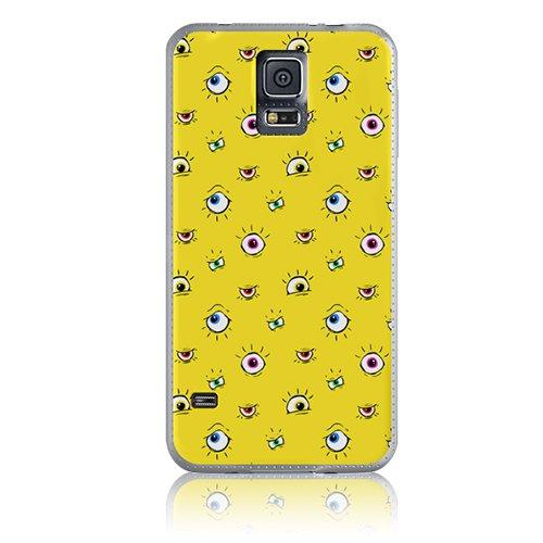 Xtra-Funky Serie Samsung Galaxy S5 de dibujos animados loco ojos saltones cubierta de la caja de plástico duro - Mudito Ojos en Amarillo