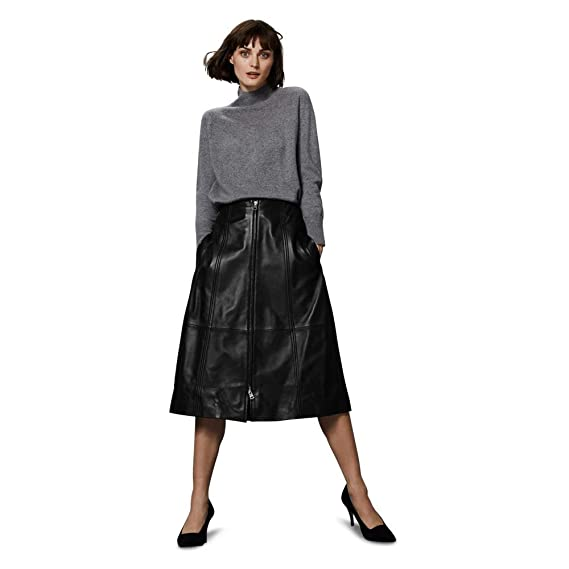 Ex-Marks & Spencer T534007T M&S - Falda de Piel Negra: Amazon.es ...