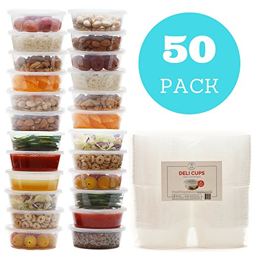 Plastic Food Storage Containers with Lids - Restaurant Deli Cups/Foodsavers for Party Supplies, Baby & Portion Control - Kids Lunch Boxes - Watertight/Leakproof Takeout Kitchen Set (50 pack, 10 oz)
