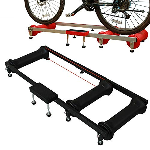 Cycling Bicycle Bike Roller Riding Table, Training Foldable Parabolic Sports Rollers Trainer Exercise Balance Table Tool 150KG Professional Indoor USA Stock Red/Black (Black)