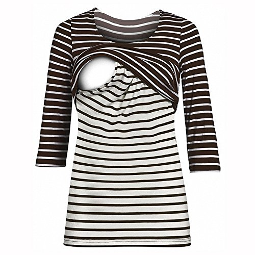 Price comparison product image ILUCI Mom Maternity Nursing Tops Striped T-Shirt With Easy Breastfeeding Openings Pregnant 3 / 4 Sleeve Tops Blouse (Coffee,  XL)