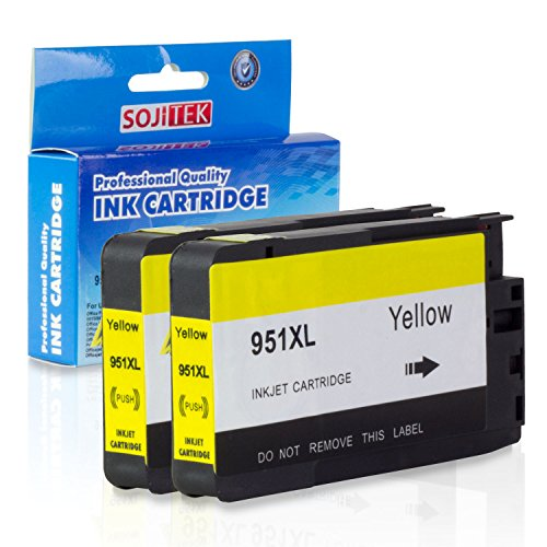 2PK-SOJITEK Remanufactured Ink Cartridge (28ml) HP 951XL CN048AN High-Yield Yellow Pigment Ink for HP 251dw 276dw MFP 8100 8600 8600 Plus 8600 Premium 8610 8615 8620 8625 8630 Printers (002 Premium Toner Cartridge)