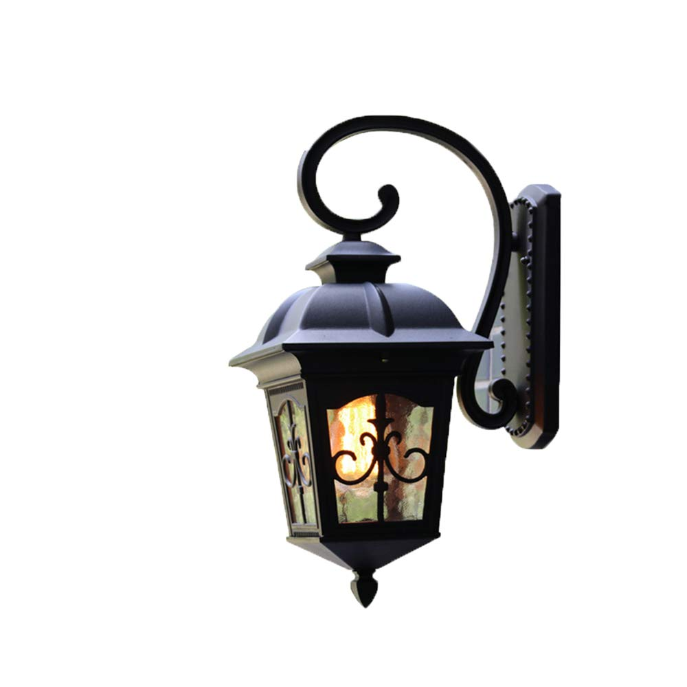 Wall Lamp Outdoor Waterproof Continental Retro Industrial Wind Balcony Nordic Exterior Outdoor Solar Light Garden Light,Lc1018 schwarz Trumpet