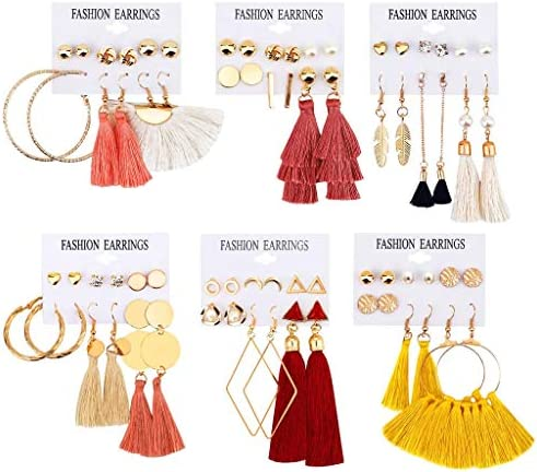 Alritz 36 Pairs Colorful Tassel Earrings Long Thread Ball Dangle Hoop Stud Earrings Fashion Bohemian Jewelry for Women Girls Valentine Birthday Party Gifts