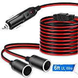 Electop 1 to 2 Car Cigarette Lighter Splitter Adapter Power Charger Port, 6Ft Cigarette Lighter Extension Cord Cable 16AWG UL Wire, 12V 24V Plug Socket 2-Way Splitter Y Adapter with 15A Fuse