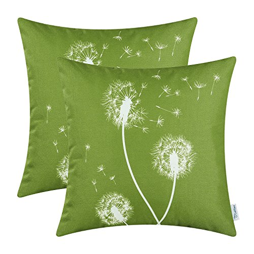 CaliTime Pack of 2 Canvas Throw Pillow Covers Cases for Couch Sofa Home Decor Solid Dandelion Print 18 X 18 Inches Olive Green