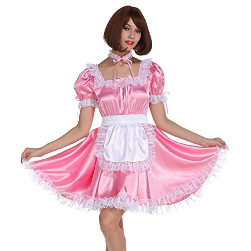 GOceBaby Sissy Girl Maid Square Neckline Pink Satin Dress Crossdress Uniform (L) ()