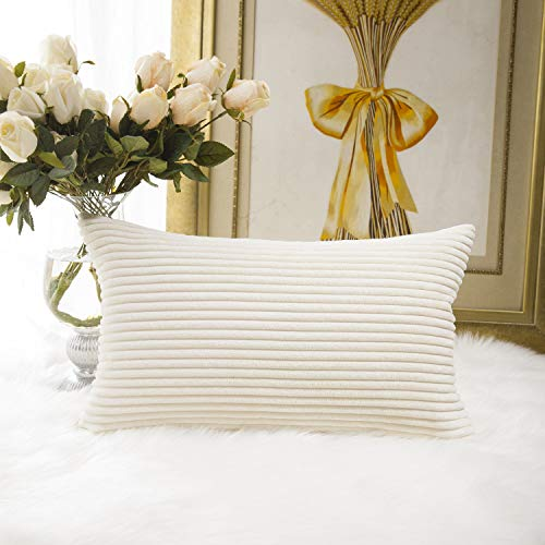 HOME BRILLIANT Decor Decorative Striped Corduroy Solid Cushion Cover Throw Oblong Pillowcase for Sofa Kids Toddler, 12 x 20, Creamy White -  HBCRDCC412
