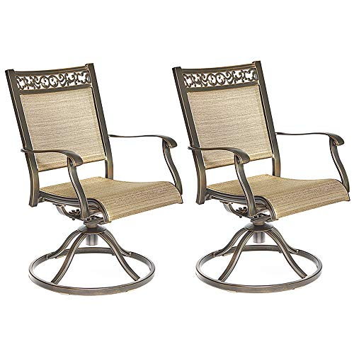 Dali Swivel Rocker Chair, Cast Aluminum All-Weather Comfort Club Arm Patio Dining Chair 2 Pc (Aluminum Cast Sling Patio Furniture)