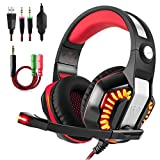 Beexcellent GM-2 Gaming Headset with Mic for New Xbox One PS4 PC, Xbox One Headset PS4 Headset, Over-Ear Gaming Headphones with LED Lights Volume Control Y Splitter for Laptop PC iPad Smartphones, Red