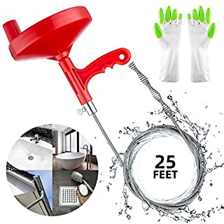 Oriflame 25 Feet Plumbing Snake Drain Auger Sink Snake Pipe Drain Cleaner for Bathroom Kitchen Sink, Shower Drain, Come with Gloves