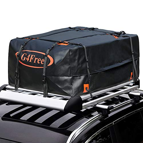 G4Free 18.5 Cubic Feet Car Top Carrier, Easy to Install Soft Roof Top Cargo Bag with Wide Straps-Works with or Without Roof Rack]()