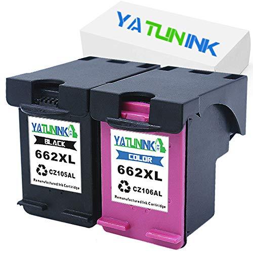 YATUNINK Remanufactured Ink Cartridge Replacement for HP 662XL Black 662XL Color Multipack with Real Ink Level Showing CZ105AL CZ106AL for Deskjet 4645 Deskjet 4666 Printer (1Black+1Color,2Pack) (Hp 662)