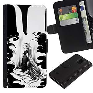 iKiki Tech / Cartera Funda Carcasa - Black Woman Minimalist Drawing - Samsung Galaxy S5 Mini, SM-G800, NOT S5 REGULAR!