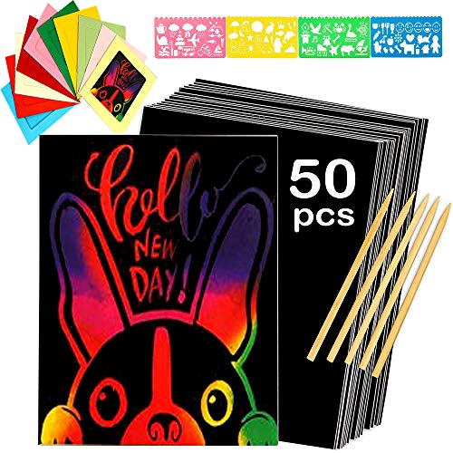 Scratch Art Paper, Colorful Paper Photo Frames, Rainbows Scratch Paper Activity Set for Kids Arts and Crafts, Party Favor Pack, Schools, Birthdays, for Boys & Girls - Cute Unique Gift Idea for Kids ()