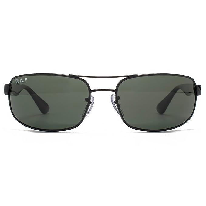 1a4ee26391 Ray-Ban Rectángulo de metal gafas de sol verde de cristal negro polarizado  RB3445 002/58 61: Amazon.es: Ropa y accesorios