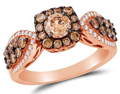 Size 9 - 14K Rose Gold Chocolate Brown & White Round Diamond Engagement Ring - Prong Set Flower Center Setting Shape with Channel Set Side Stones (1.42 cttw.) (Champagne Diamond Flower Ring)