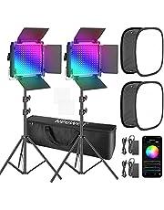 Neewer 2 paquetes de luz de video LED 660 PRO RGB con kit de caja de luz de control de aplicación, 360 ° a todo color, iluminación de video de 50 W CRI 97+ para juegos, transmisión, zoom, YouTube, Webex, transmisión, conferencia web, fotografía