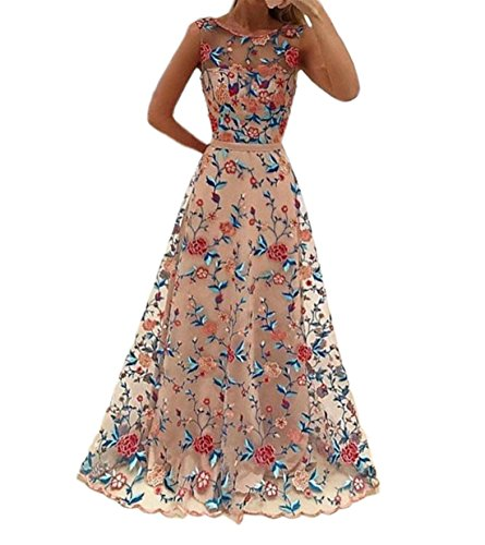 - Women's Embroidered Floral Mesh Muslin Hollow Out Long Wedding Dresses (M, Floral)