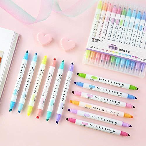 (12pcs/set Cute Double Head Fluorescent Pen Milkliner Highlighters Color Marker Pen School Supplies Kawaii)