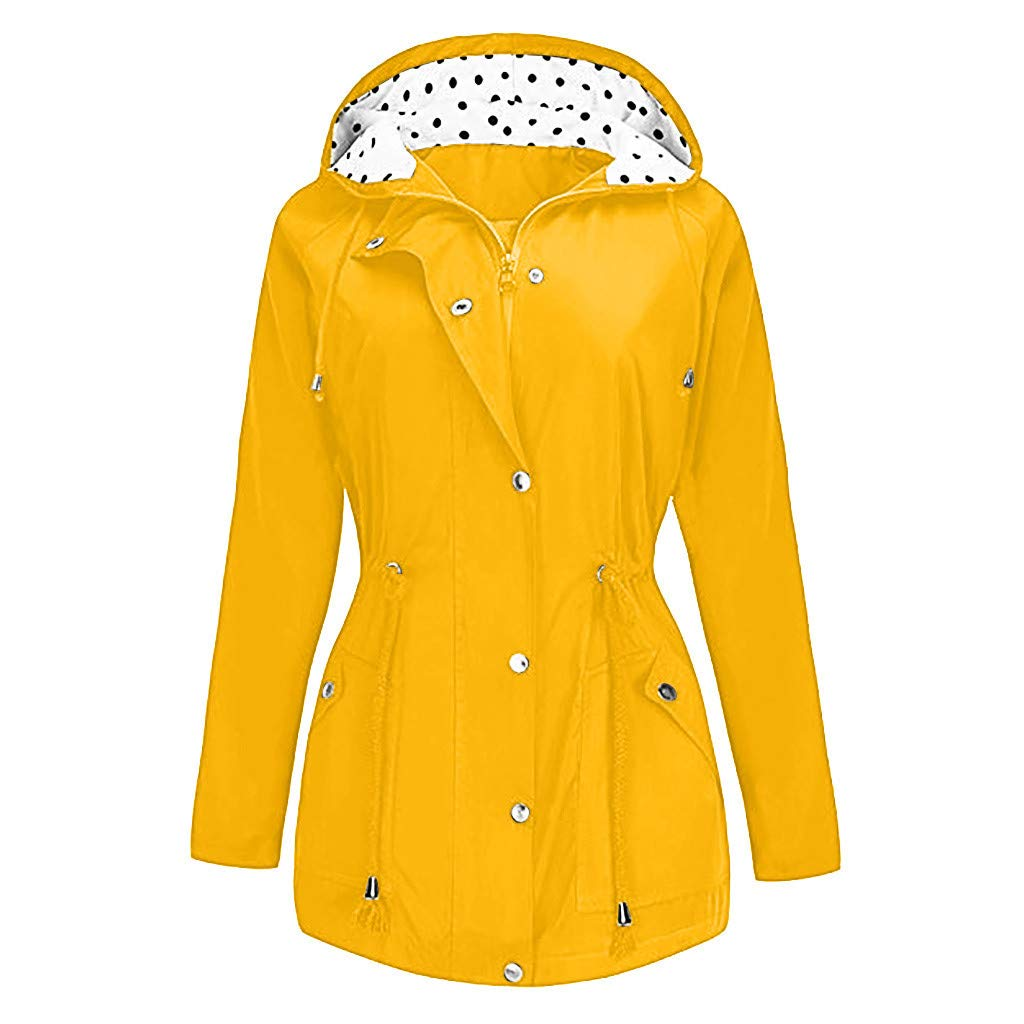 Shusuen Women's Waterproof Raincoat Hooded Rain Jacket Windbreaker Outdoor Trench Coats D Yellow by Shusuen_Clothes