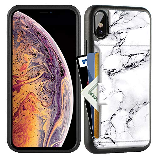 ZVE Case for Apple iPhone Xs and X, 5.8 inch, Wallet Case with Credit Card Holder Slot Slim Leather Pocket Protective Case Cover for Apple iPhone Xs and X 5.8 inch (Aries Series)- White Marble