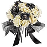 Collections Etc Creepy Rose Bouquet for Scary Bride Costume or Indoor Home Halloween Décor
