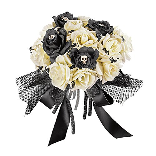Bouquet Halloween - Collections Etc Creepy Rose Bouquet for Scary Bride Costume or Indoor Home Halloween Décor