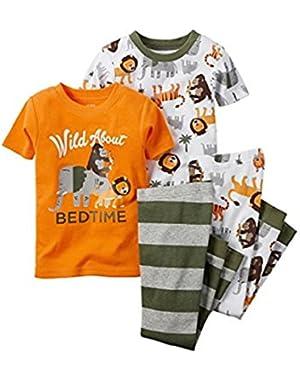 CARTER'S Boy's 4-Piece JUNGLE CARTER'S Boy's 4-Piece JUNGLE ANIMAL Wild About Bedtime Pajama Set