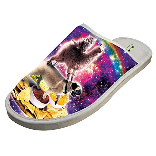 Pug Galaxy Bedroom Women For Men BVVST Slippers Cat Llama White Shoes Indoor Warm House Space YnZnXgFwq