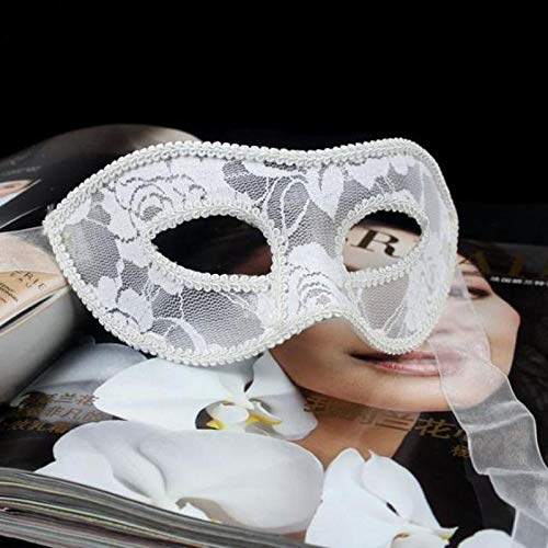 Morrenz - Women Sexy Lace Eye Mask Party Masks for Masquerade Halloween Venetian Costumes [ White ]