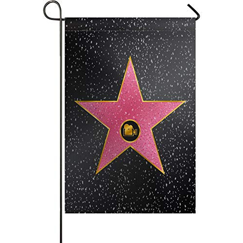 LIDU Popstar Party Garden Flags House Banner Decorative Flags Home Outdoor Valentine, Hollywood Walk Fame Symbol Celebrity Entertainment Culture, Welcome Holiday Yard Flags, Double Sides 28 x -