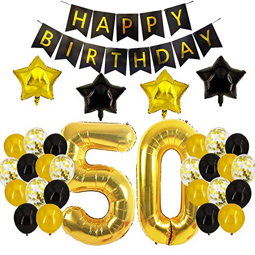 50th Birthday Decorations - 50th Number Balloons Black and Gold Party Decorations 50th Birthday 50th Birthday Decorations For Men Women