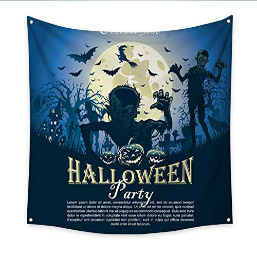 Anniutwo Hanging Tapestry Halloween Party Scary Night Invitations Living Room Bedroom Dorm Decor in 47W x 47L Inch -
