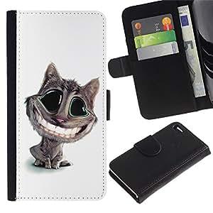 Ihec-Tech / Flip PU Cuero Cover Case para Apple Iphone 4 / 4S - Funny Lol Big Smile Cat