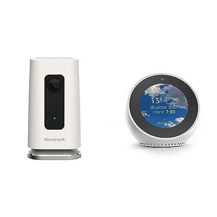 Echo Spot blanco + Honeywell HAWCIC1S Lyric C1 Cámara de Seguridad, Blanco