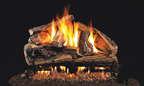 Real Fyre 30-inch Rugged Split Oak Vented Gas Logs Bundled with G45 Burner Kit (Natural Gas) ()