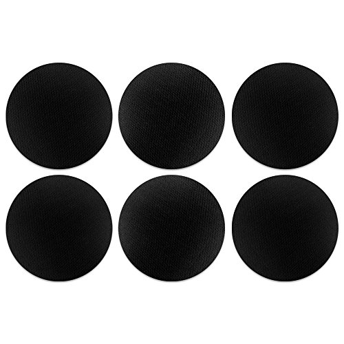(CARIBOU Coasters, Solid Black Design Absorbent ROUND Fabric Felt Neoprene Coasters for Drinks, 6pcs Set)