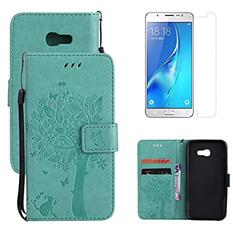 for Samsung Galaxy Xcover 4 Wallet Case with Screen Protector , OYIME [Blue Cute Cat and Butterfly Tree] Design Leather Kickstand Magnetic Holster with Card Holder Full Body Protective Flip Cover 4330934926