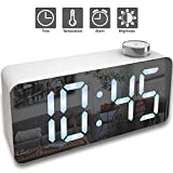 Alarm Clock – Digital Clock LED Display – Time Snooze Temperature Brightness Dimmer – Desk Clock for Kids Heavy Sleepers Adults – Modern Alarm Clocks for Bedrooms Bedside Home Battery Clock