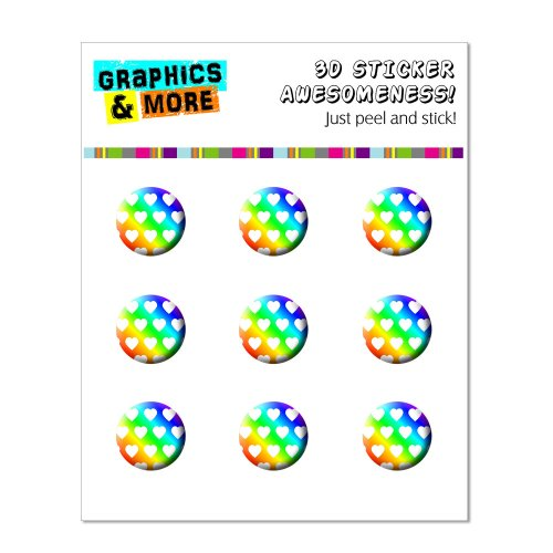 Sweetheart Buttons (Graphics and More Sweet Heart Pattern Rainbow White Home Button Stickers Fits Apple iPhone 4/4S/5/5C/5S, iPad, iPod Touch - Non-Retail Packaging - Clear)